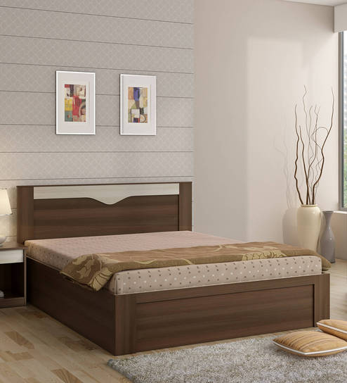 Buy Kosmo Crescent Queen Size Bed With Box Storage In Dark Acacia Finish By Spacewood Online