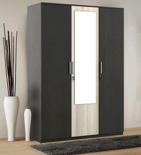 Upto 49% Off On Spacewood Furniture By Pepperfry | Kosmo Delta Three Door Wardrobe with Mirror by Spacewood @ Rs.14,470