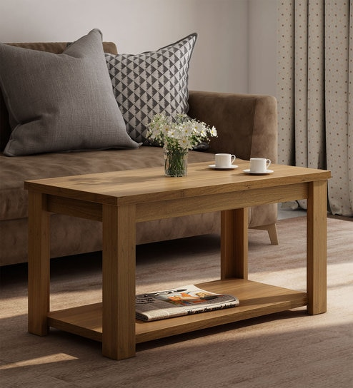 Kosmo Harmony Centre Table In Natural Teak Finish By Ewood