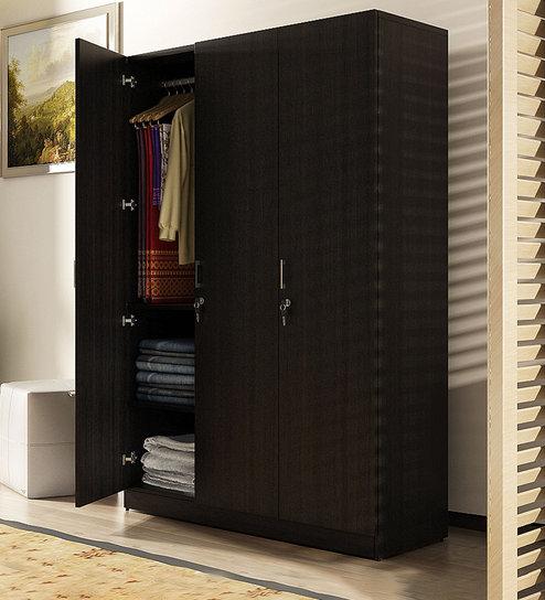 Kosmo Optima Three Door Wardrobe In Wenge Finish By Spacewood