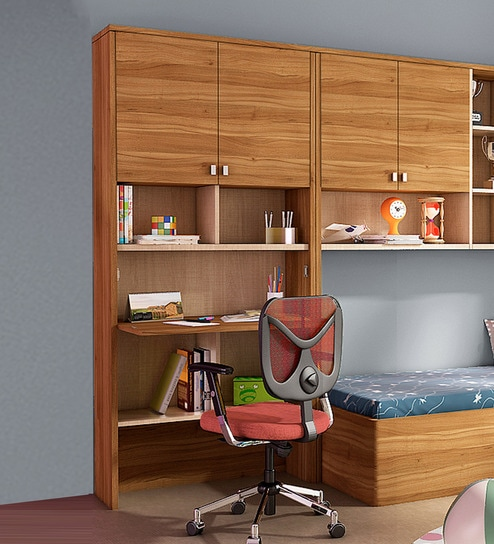 Buy Kosmo Oscar Study Table With Wall Storage By Spacewood Online