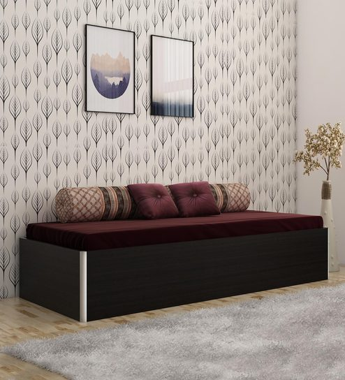 Kosmo Single Bed With Storage In Black Colour By Spacewood