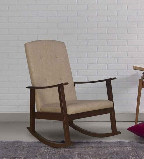 Kosmo Solid Wood Rocking Chair In Walnut Colour By At Home