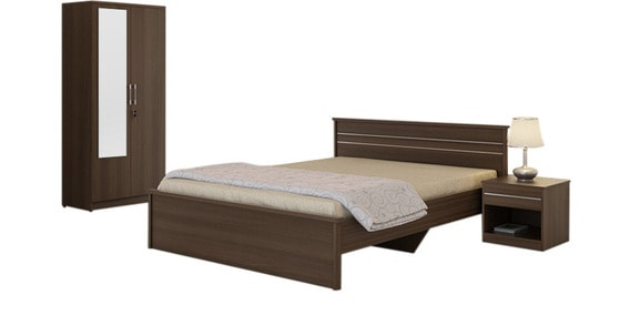 Buy Kosmo Marvel Bedroom Set With Queen Bed In Woodpore Finish By Spacewood Online Bed Room Sets Bed Room Sets Furniture Pepperfry Product