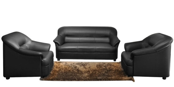 Superieur Kosmo Pearl Sofa Set (Three Seater+ 2 One Seater) In Black Colour By  Spacewood
