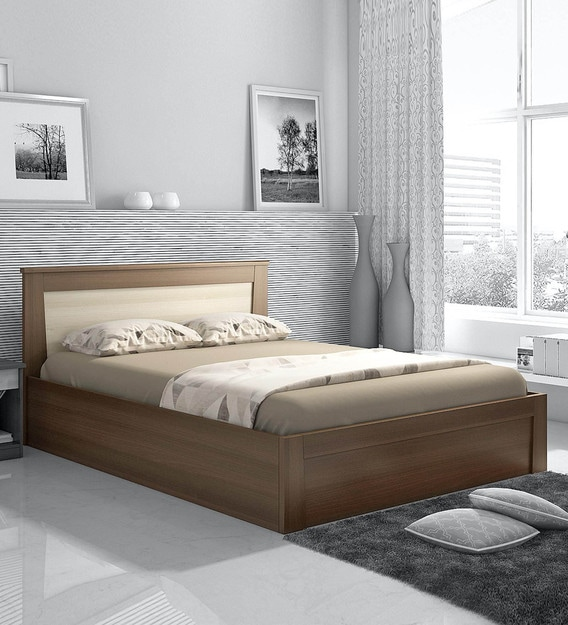 Buy Kosmo Denver Queen Size Bed With Storage By Spacewood Online Modern Queen Size Beds Beds Furniture Pepperfry Product