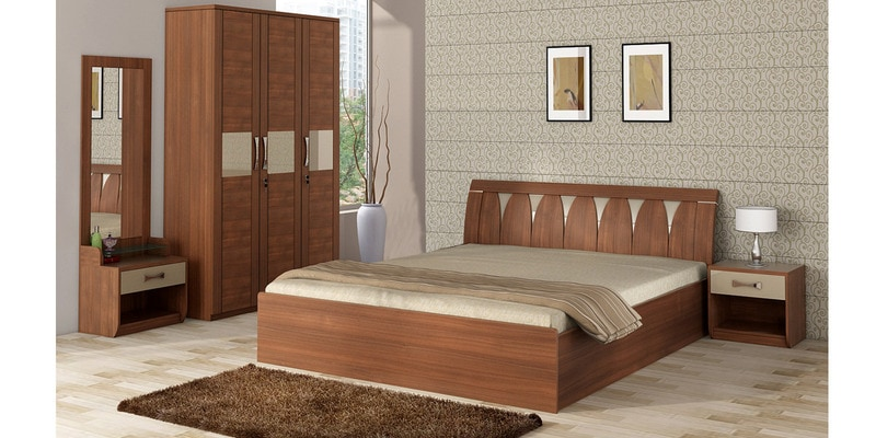Buy Kosmo Lotus Queen Size Bed With Hydraulic Storage In