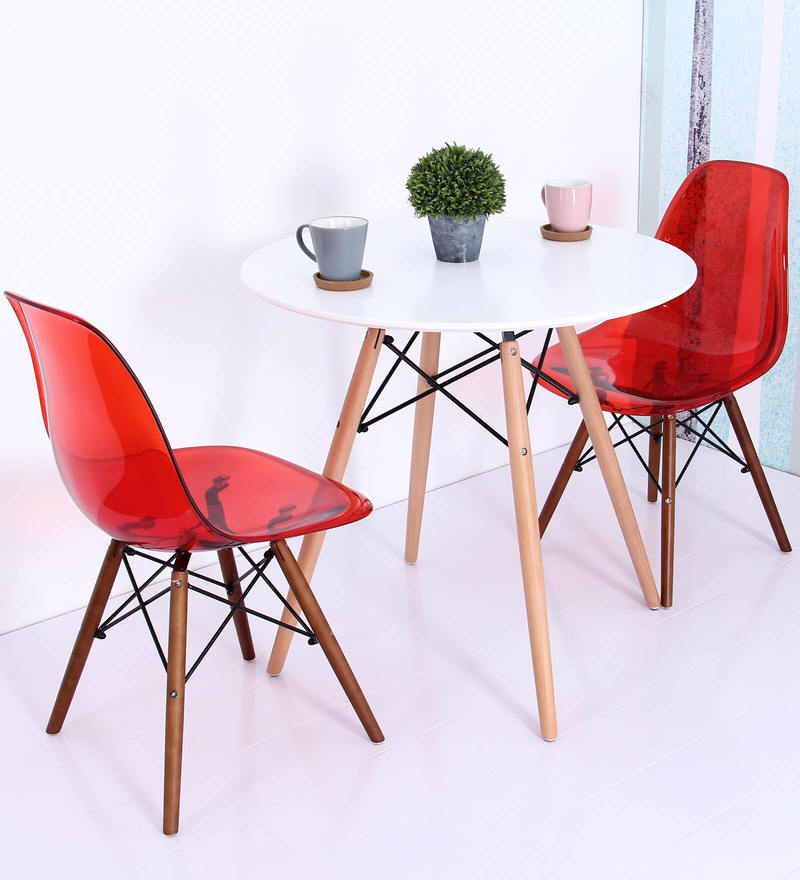 Komako Accent DSW Eames Replica Plastic Chair (Set of 2) in Red Colour by Mintwud