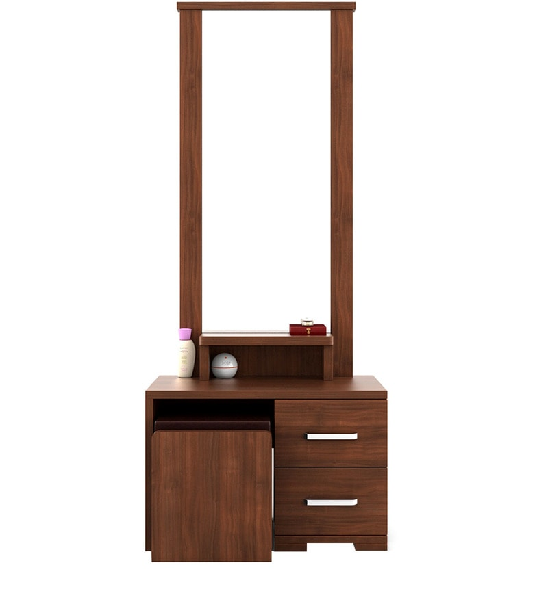 Buy Kosmo Arena Dressing Table With Stool In Rigato Walnut Finish By  Spacewood Online   Dressing Tables   Dressing Tables   Pepperfry