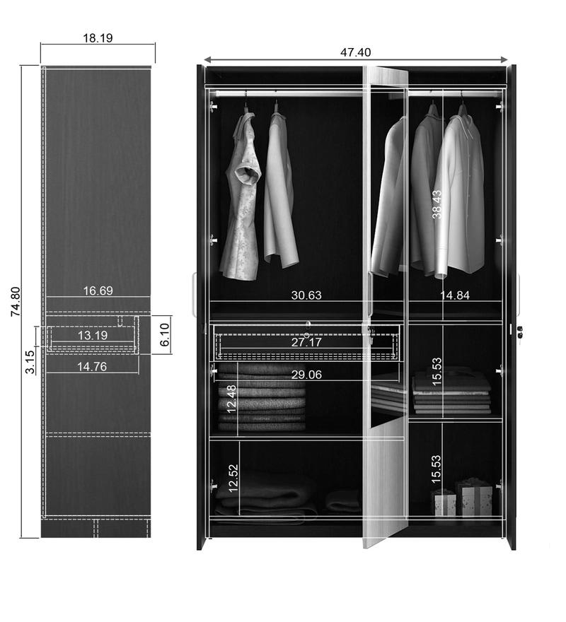 Buy Kosmo Delta Three Door Wardrobe With Mirror By Spacewood Online Modern 3 Door Wardrobes