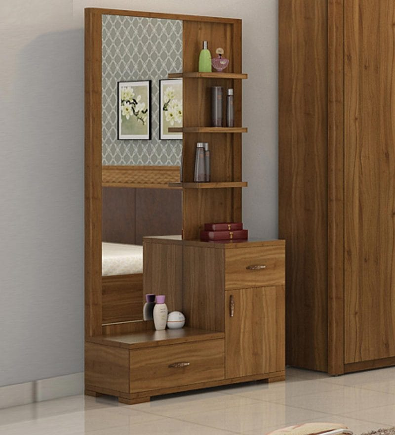 Buy Kosmo Legend Dressing Table In Natural Teak Finish By