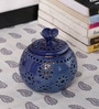Kokoon Blue Ceramic Tea Light Holder with Flower Lid