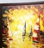 Kokoon Canvas 41 x 0.5 x 41.8 Inch Boats in Sea Wall Painting