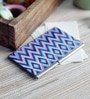 Kolorobia on the Go Metal Ikat Blue Rustic Chevron Visiting Card Holder