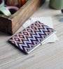 Kolorobia on the Go Metal Blue & Orange Geometric Ikat Visiting Card Holder