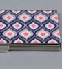 Kolorobia on the Go Metal Dark Blue & White Stimulating Ikat Visiting Card Holder