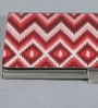 Kolorobia on the Go Metal Red Rustic Chevron Ikat Visiting Card Holder