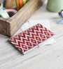 Red on the Go Metal Rustic Chevron Ikat Visiting Card Holder by Kolorobia