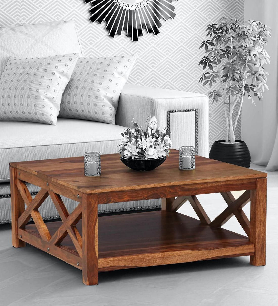 Buy Kryss Solid Wood Coffee Table In Rustic Teak Finish Woodsworth By Pepperfry Online Square Coffee Tables Tables Furniture Pepperfry Product