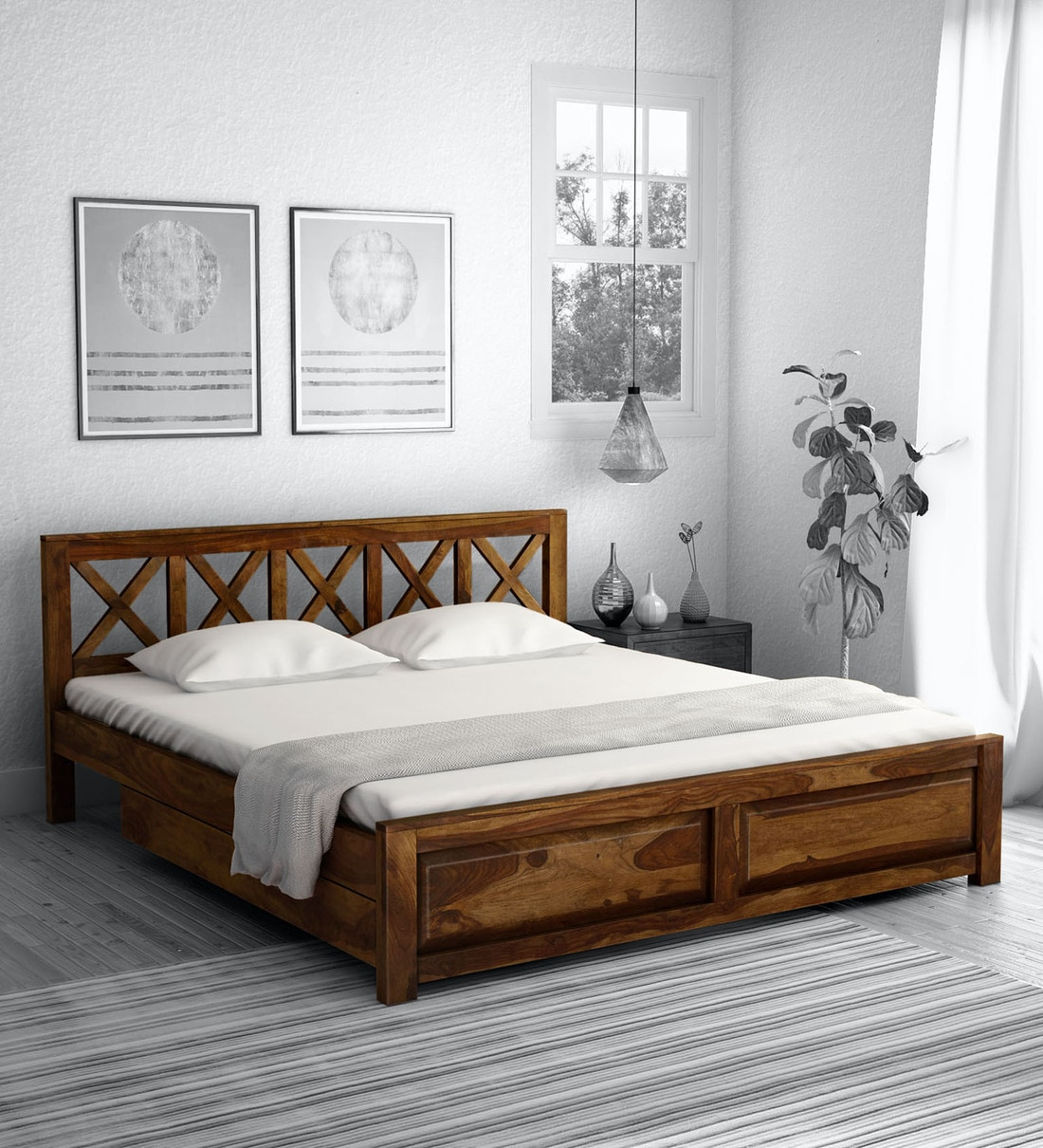 Buy Kryss Solid Wood King Size Bed With Storage In Provincial Teak Finish Woodsworth By Pepperfry Online Transitional King Size Beds Beds Furniture Pepperfry Product