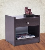 Krish Bedside Table with Drawer in Brown Colour