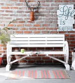 Lomira Outdoor Bench in White Color
