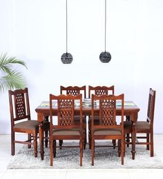 Krisa Six Seater Dining Set In Honey Oak Finish