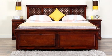 Krisa Queen Size Bed With Storage In Honey Oak Finish