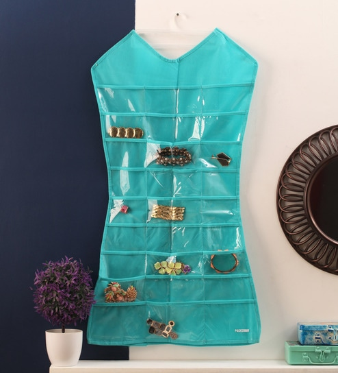 Buy Mesh Aqua Green DressShaped Jewellery Organiser by KRIO Designs