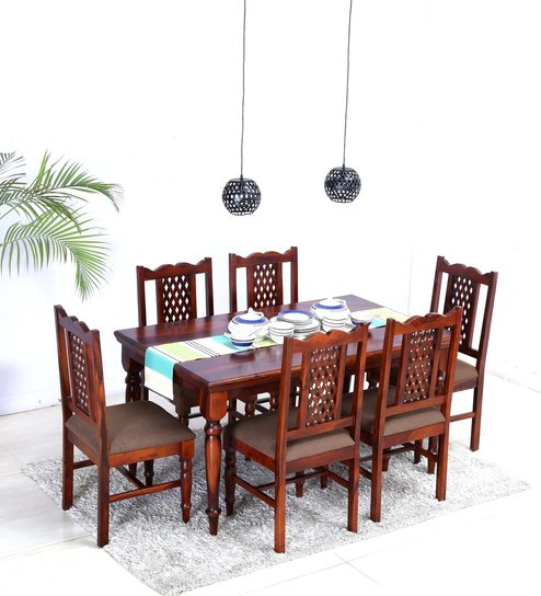 New Krisa Solid Wood Six Seater Dining Set in Honey Oak Finish by Mudramark Contemporary - Awesome cheap dining table and chairs set Contemporary