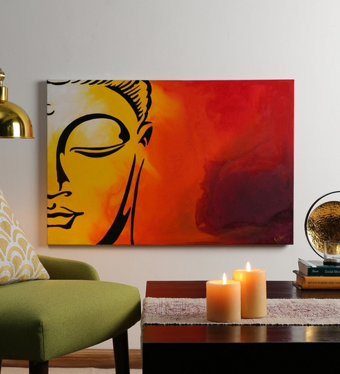 Buy Krish Art Canvas & Acrylic 30 x 1.5 x 20 Inch Sleeping Buddha ...