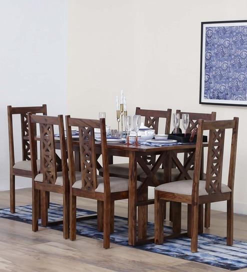 Kryss Solid Wood Six Seater Dining Set In Provincial Teak Finish By Woodsworth