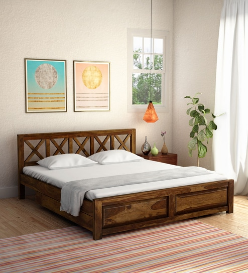 Cool Kryss Solid Wood King Size Bed With Storage In Provincial Teak Finish By Woodsworth Andrewgaddart Wooden Chair Designs For Living Room Andrewgaddartcom