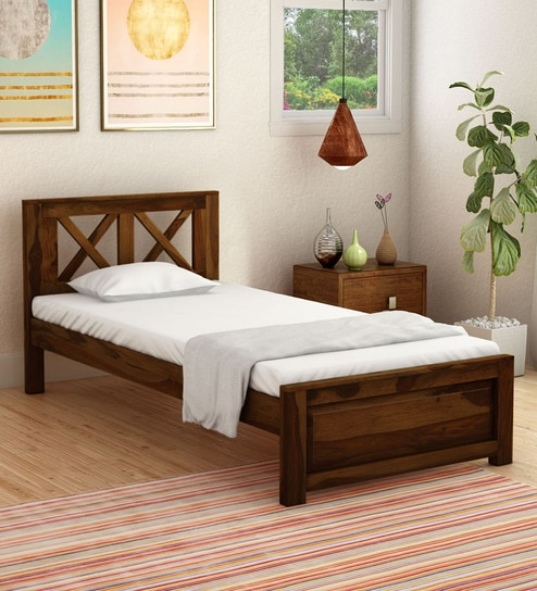 . Kryss Solid Wood Single Bed in Provincial Teak Finish by Woodsworth