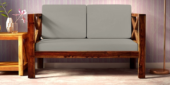 Kryss Solid Wood 2 Seater Sofa In Provincial Teak Finish By Woodsworth