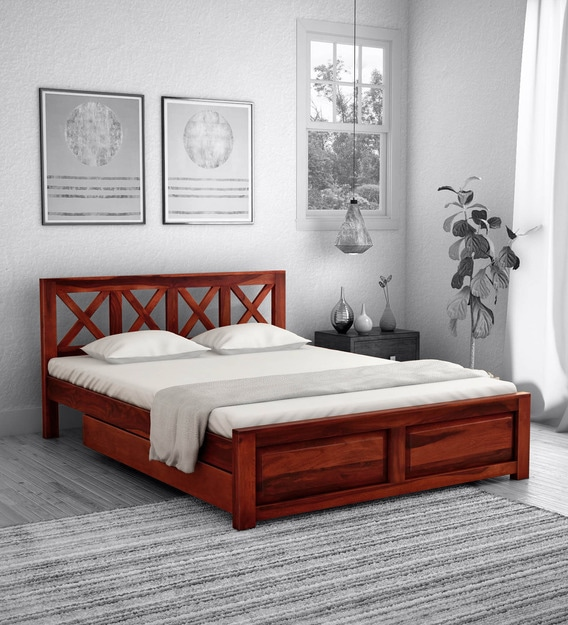 kryss solid wood queen size bed with storage in honey oak finish