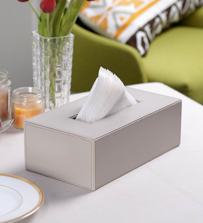 Kraftsmen PU Light Grey Tissue Paper Holder