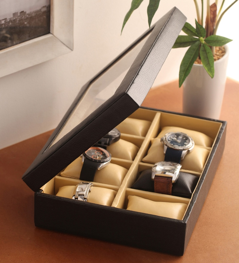Pu Leather Black 8-Case Magnetic Watch Box by KRIO Designs