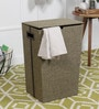 Kraftsmen Fabric & PU 10 L Green & Brown Laundry Basket