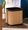 Kraftsmen Brown Faux Leather & Chic 4 L Beige & Brown Dustbin
