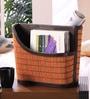 Kraftsmen Brown Faux Leather & Chic Orange & Beige Magazine Holder