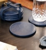 Kraftsmen Designer Blue PU Coaster - Set of 6