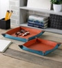 Kraftsmen Leather Orange & Blue Snap Tray - Set of 2