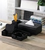 Kraftsmen PU Black Office Table Top Set