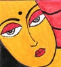 Canvas & Acrylic 11 x 1.5 x 7.5 Inch Resting Lady Original Framed Painting by Krish Art