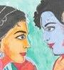 Canvas & Acrylic 12 x 1.5 x 12 Inch Radha Krishna Original Framed Painting by Krish Art