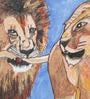 Canvas & Acrylic 12 x 1.5 x 7 Inch Lion Couple Original Framed Painting by Krish Art