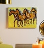 Krish Art Canvas & Acrylic 15 x 1.5 x 12 Inch Four Horses Original Framed Painting