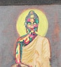Canvas & Acrylic 7.5 x 1.5 x 10.5 Inch Buddha with Red Halo Original Framed Painting by Krish Art