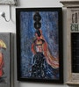 Krish Art Canvas & Acrylic 8.5 x 1.5 x 11.5 Inch Lady with Matka Original Framed Painting